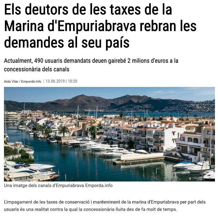 Els deutors de les taxes de la Marina d'Empuriabrava