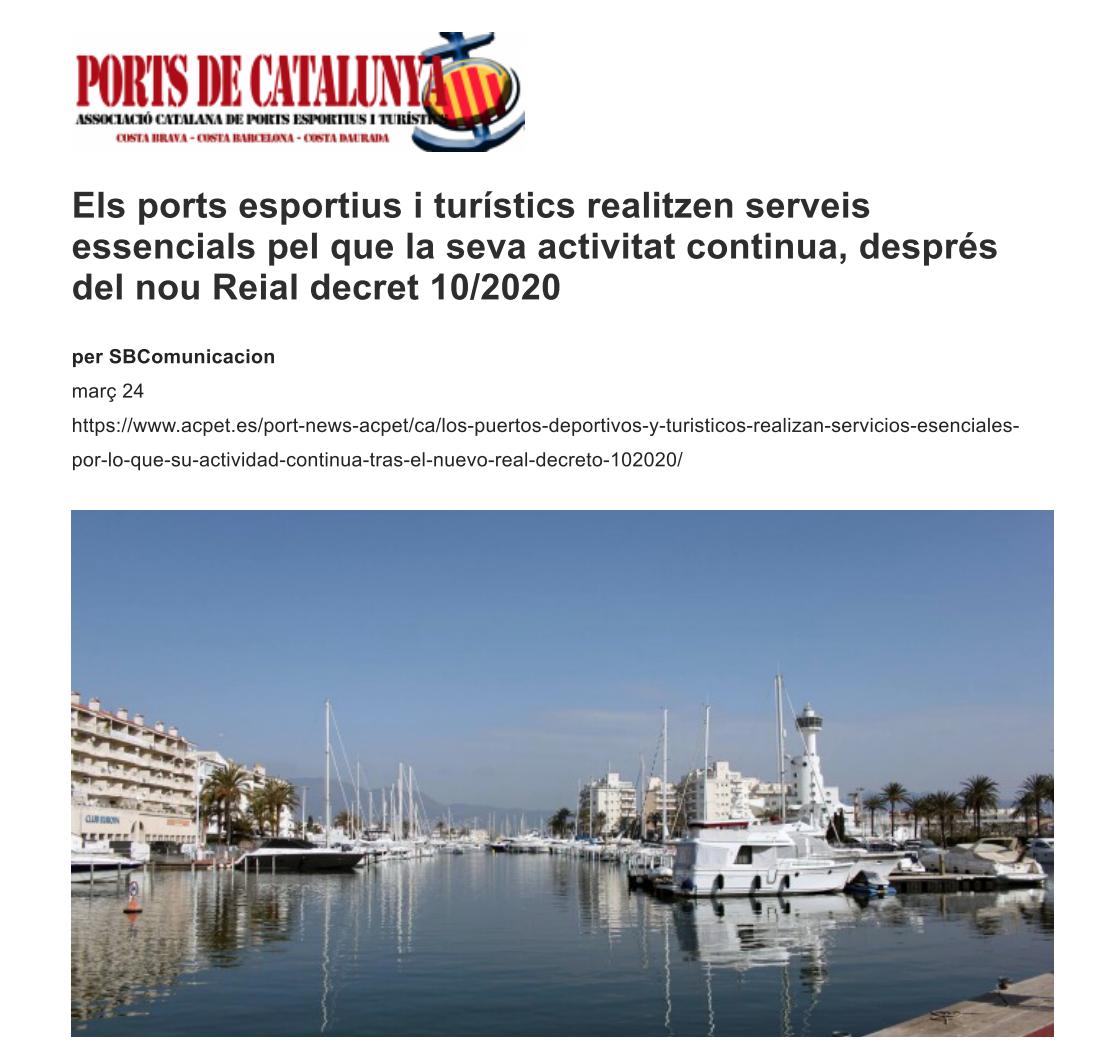 Els ports esportius i turístics realitzen serveis