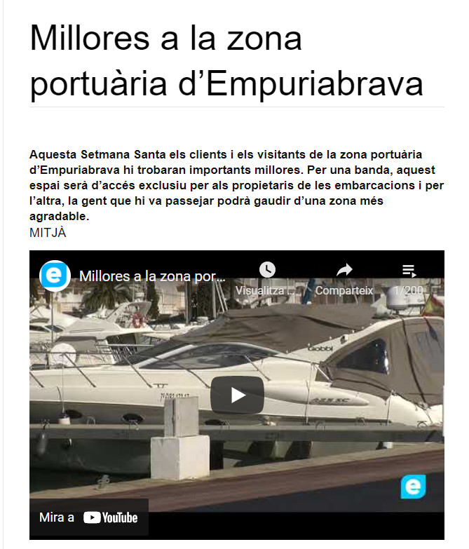 Millores a la zona portuària d'Empuriabrava