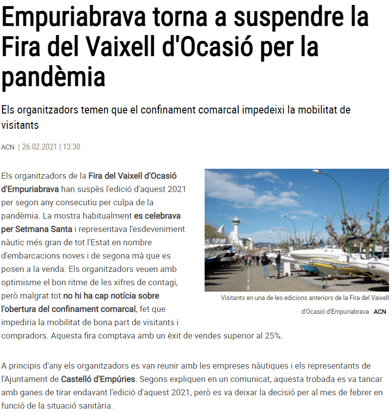 Empuriabrava torna a suspendre la Fira del Vaixell d'Ocasió per la pandèmia