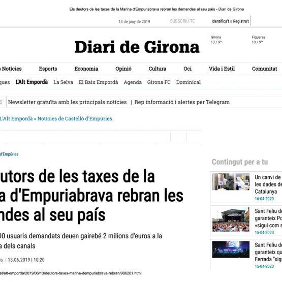 Els deutors de les taxes de la Marina d...demandes al seu país - Diari de Girona_Página_1